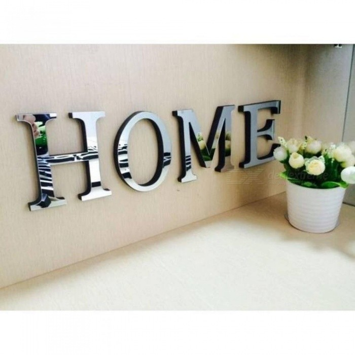 Wedding Love Letters English 3D Mirror Wall Stickers Alphabet Home Decor  Logo For Wall Home Decoration Acrylic Letter 10x8cm (L x W)/AND.