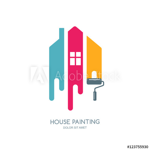 House painting service, decor and repair multicolor icon.