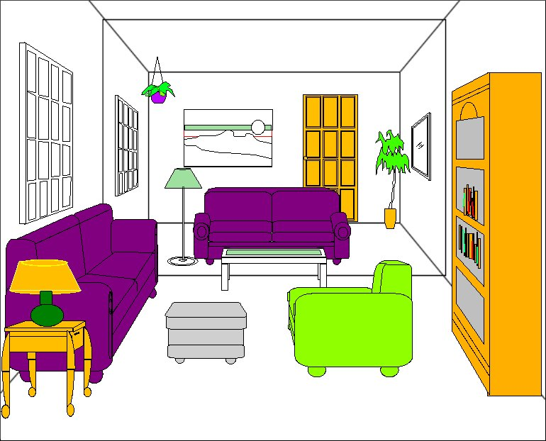 Interior House Design Clip Art, Vector house interior design stock.