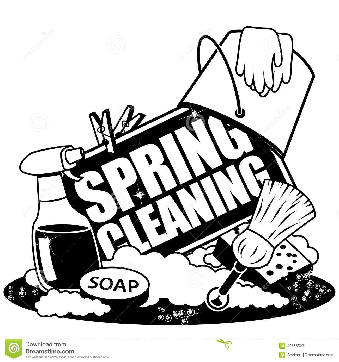 Cleaning Clipart Black And White.