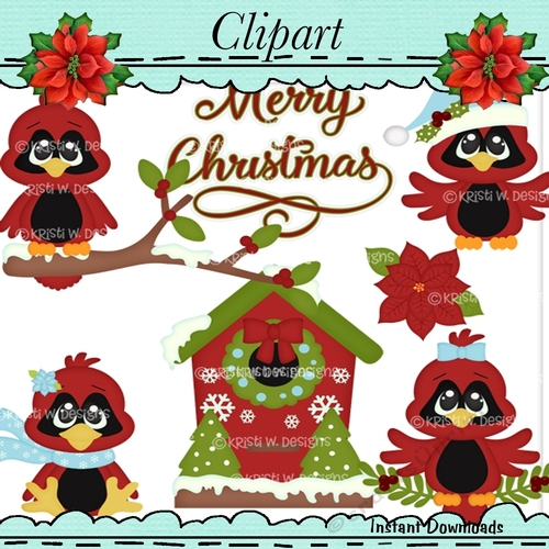Home For The Holidays Clip Art Red Birds.