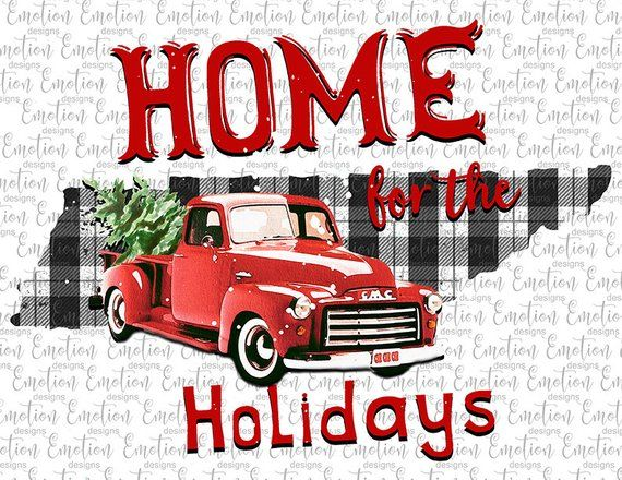 Home For The Holidays Tennessee clipart, instant download.