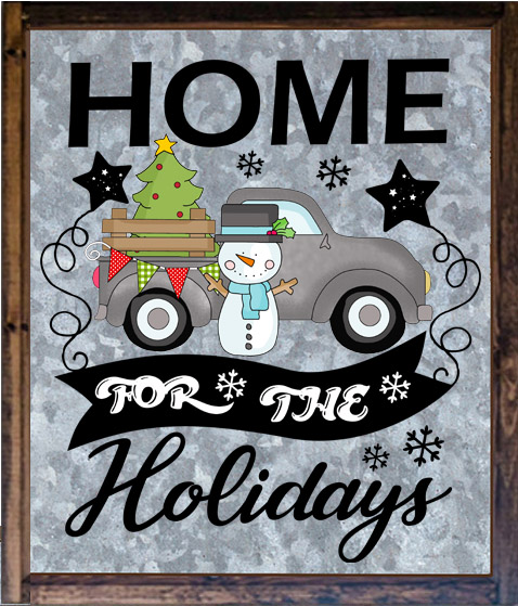 Home for the Holidays Sign with Pickup Truck Clipart.