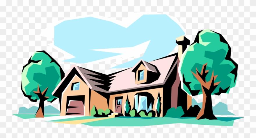 Vector Illustration Of Family Home Residence House Clipart.