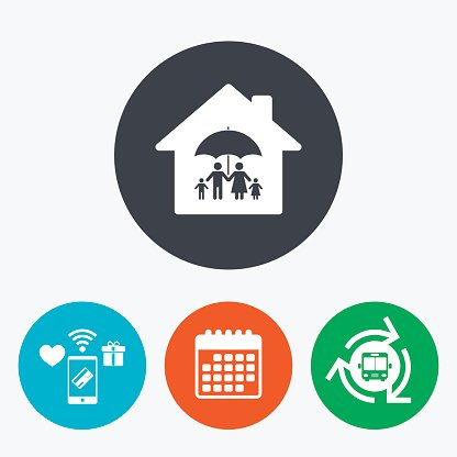 Complete family home insurance icon. Clipart Image.