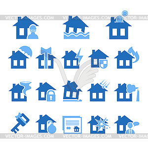 Property and House Insurance Icon Set. . Flat Design.