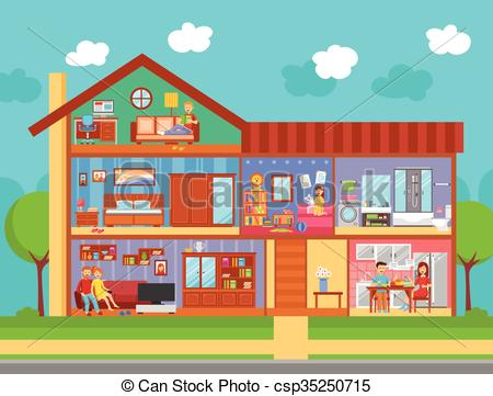 Home interior clipart design.