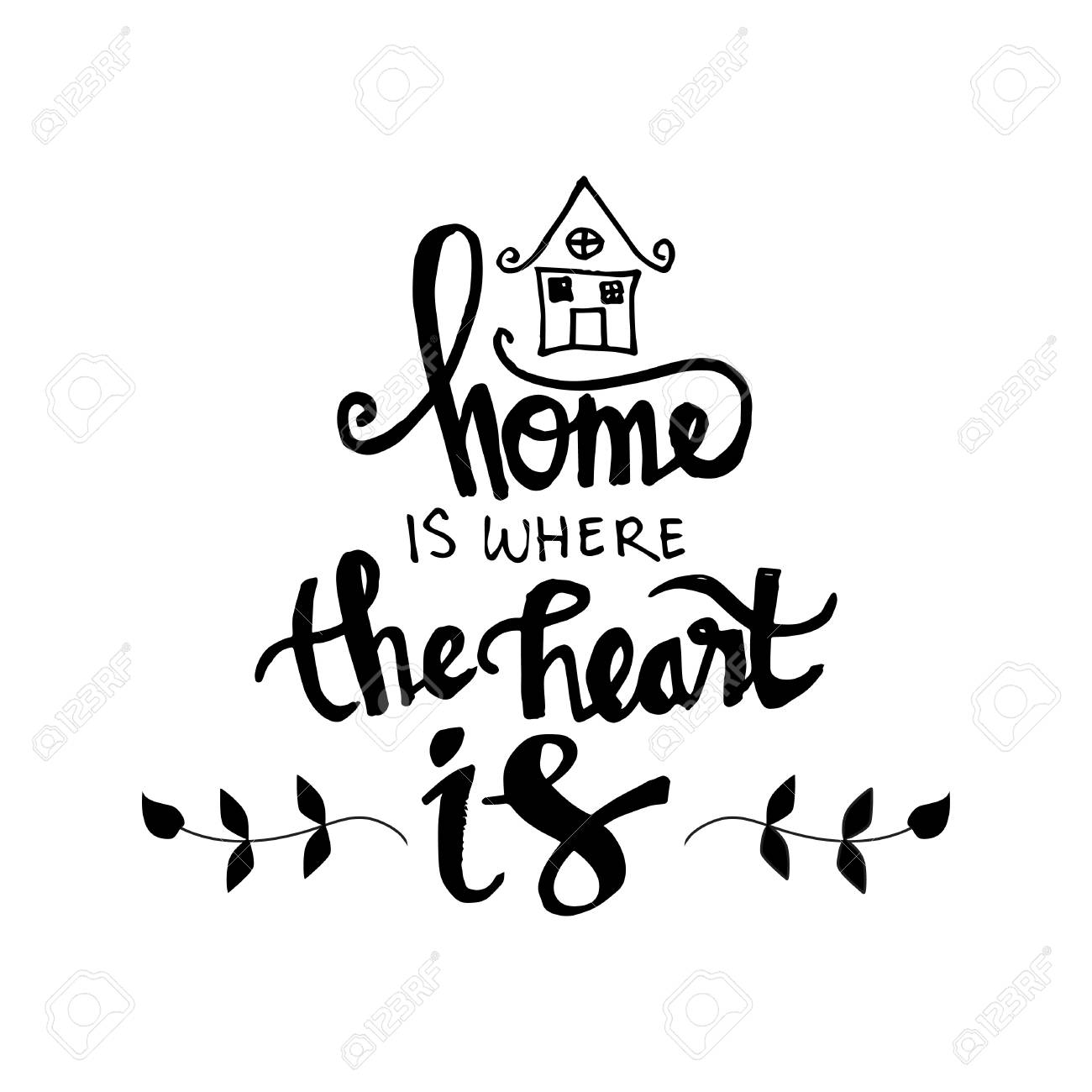 Home is where your heart is Inspirational quote isolated on plain...
