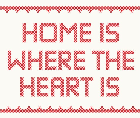 Digital Clipart Home Is Where The Heart Is Cross Stitch Aphorism Embroidery  Craft Needlework Quote Red Stitches.