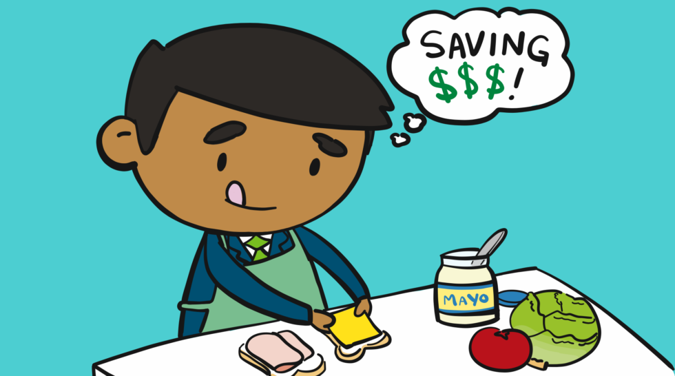 How to save money by preparing a home cooked lunch.