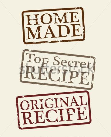 Stamps Home Made Top Secret Recipe And Original Recipe Vector.
