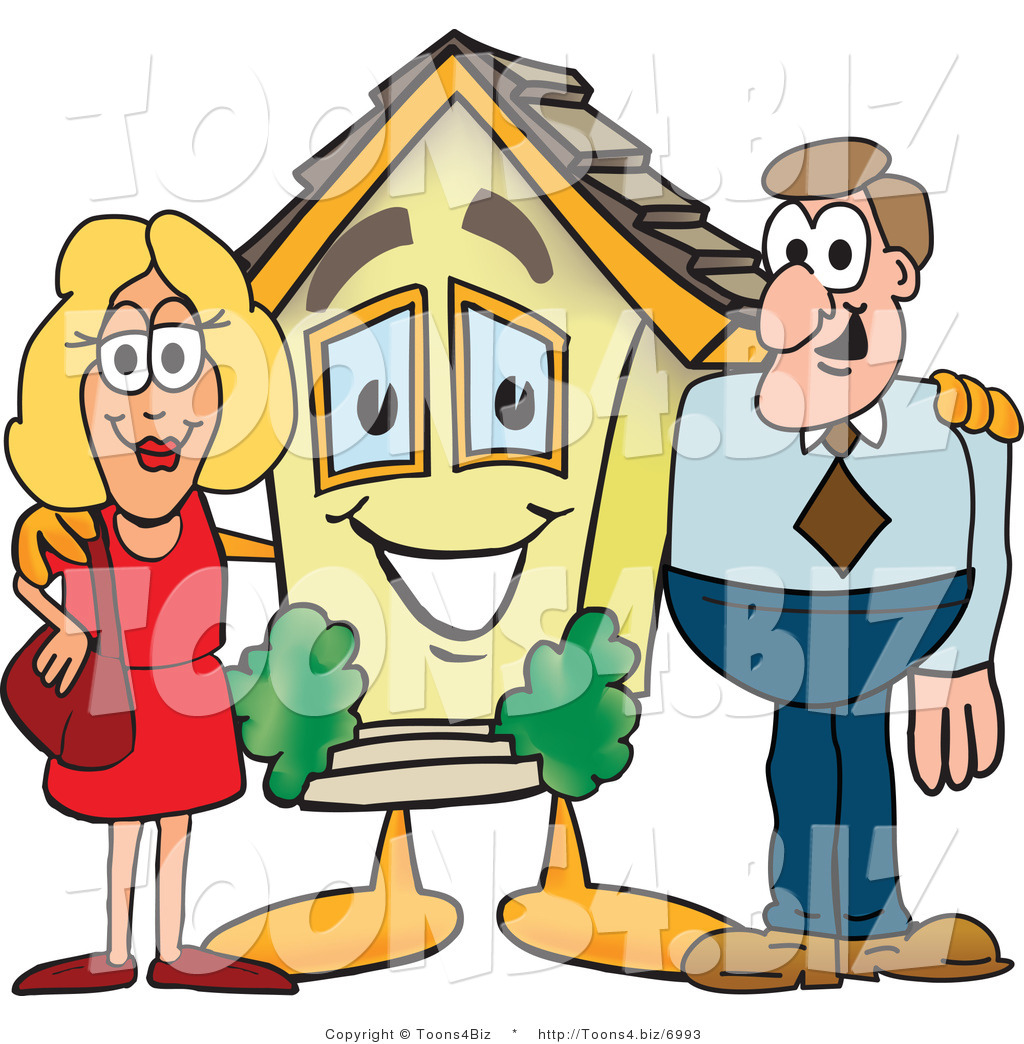 Vector Illustration of a Cartoon House Mascot with New Home Owners.