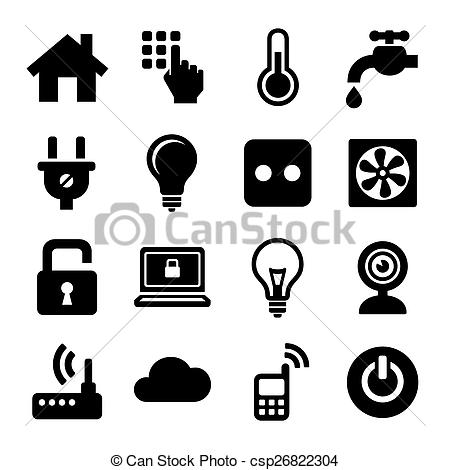 Vector Clipart of Smart Home Management Icons Set. Vector.