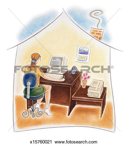 Clipart of Woman working in home office x15760021.