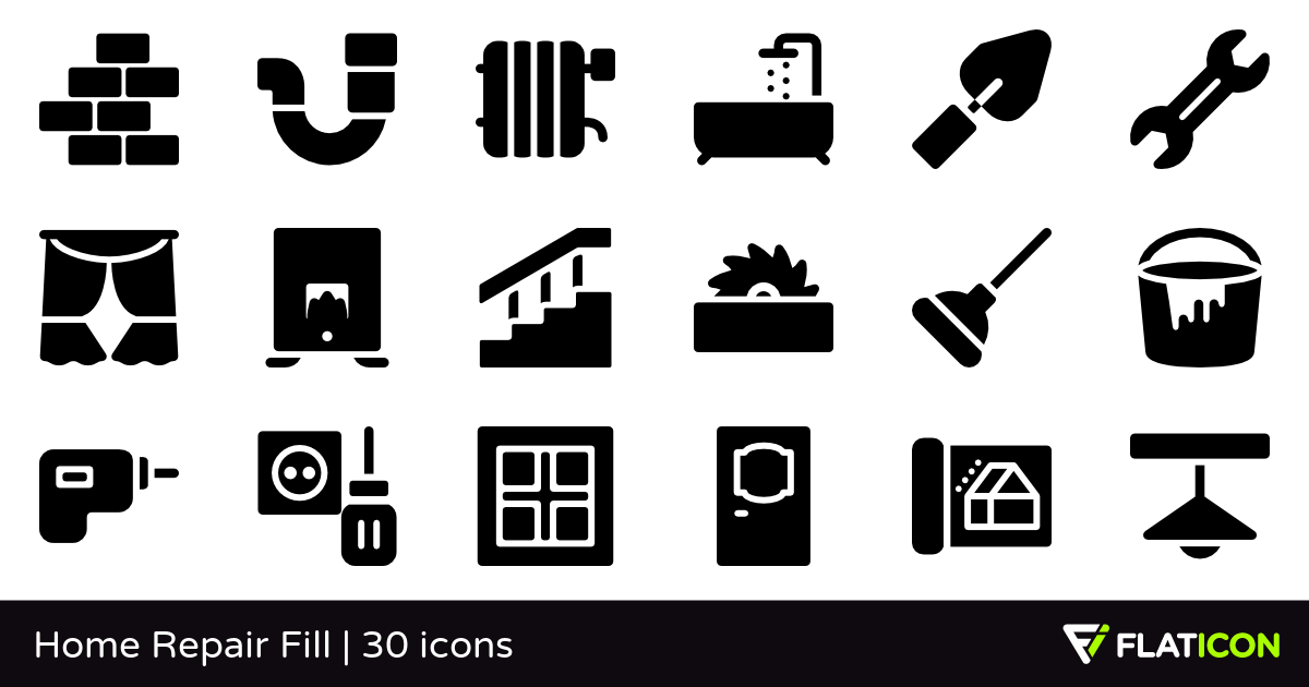 Home Repair Fill 30 free icons (SVG, EPS, PSD, PNG files).