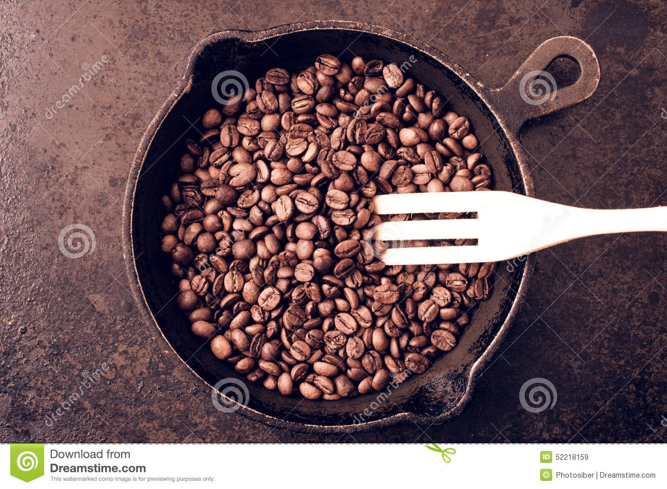 The Process Of Roasting Coffee Beans Stock Photo.