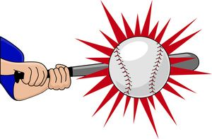 Batting Clipart Image: Batter Hitting the Baseball with His Bat for.