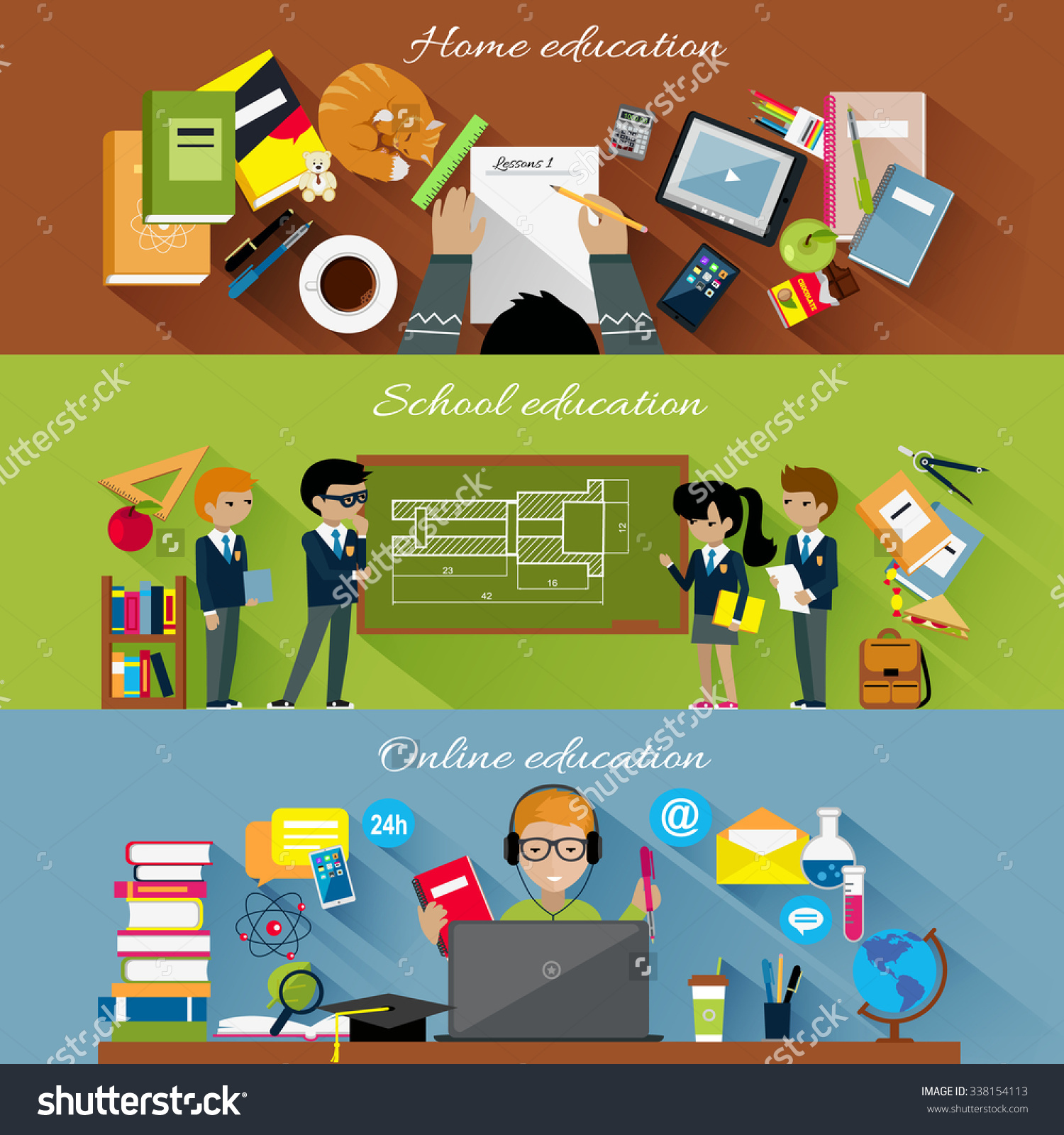 Home School Online Education Concept Internet Stock Vector.