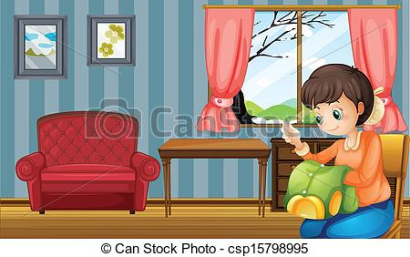EPS Vectors of A woman sewing inside their home.