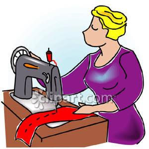 Woman Using Sewing Machine.