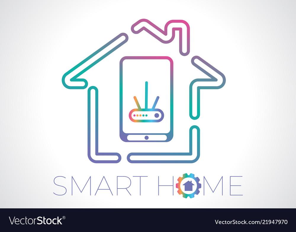 Smart home concept flat logo.