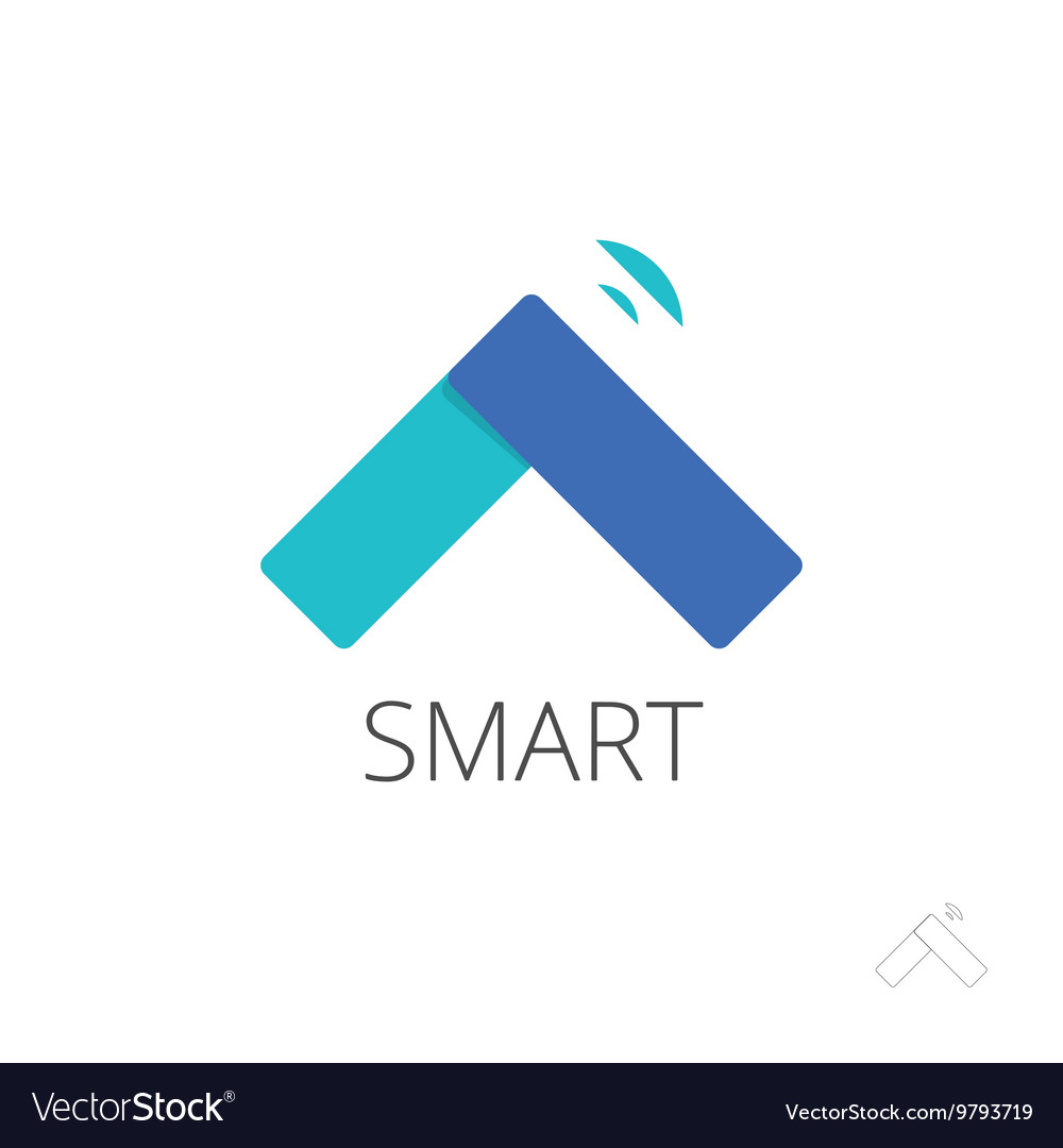 Flat smart home control logo house.