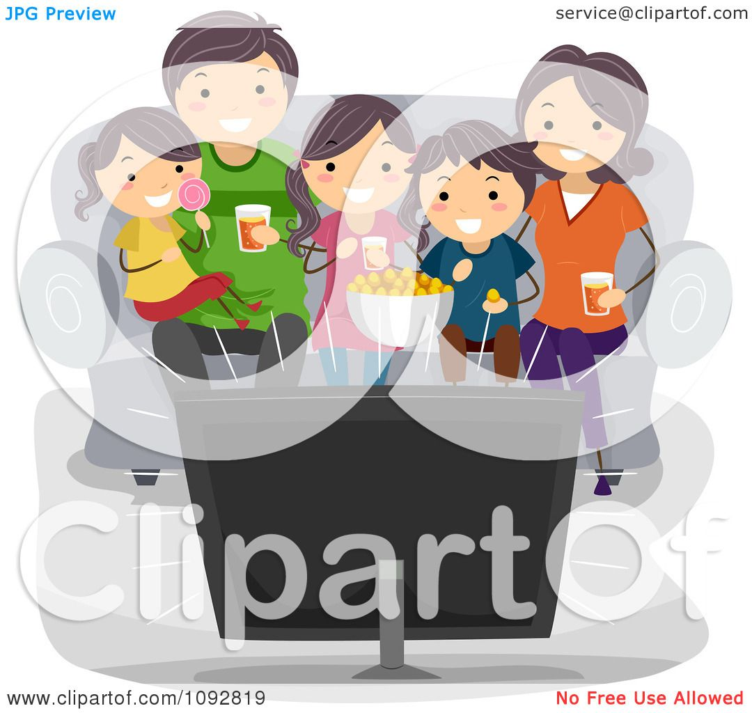 Clipart Happy Family Watching TV At Home.