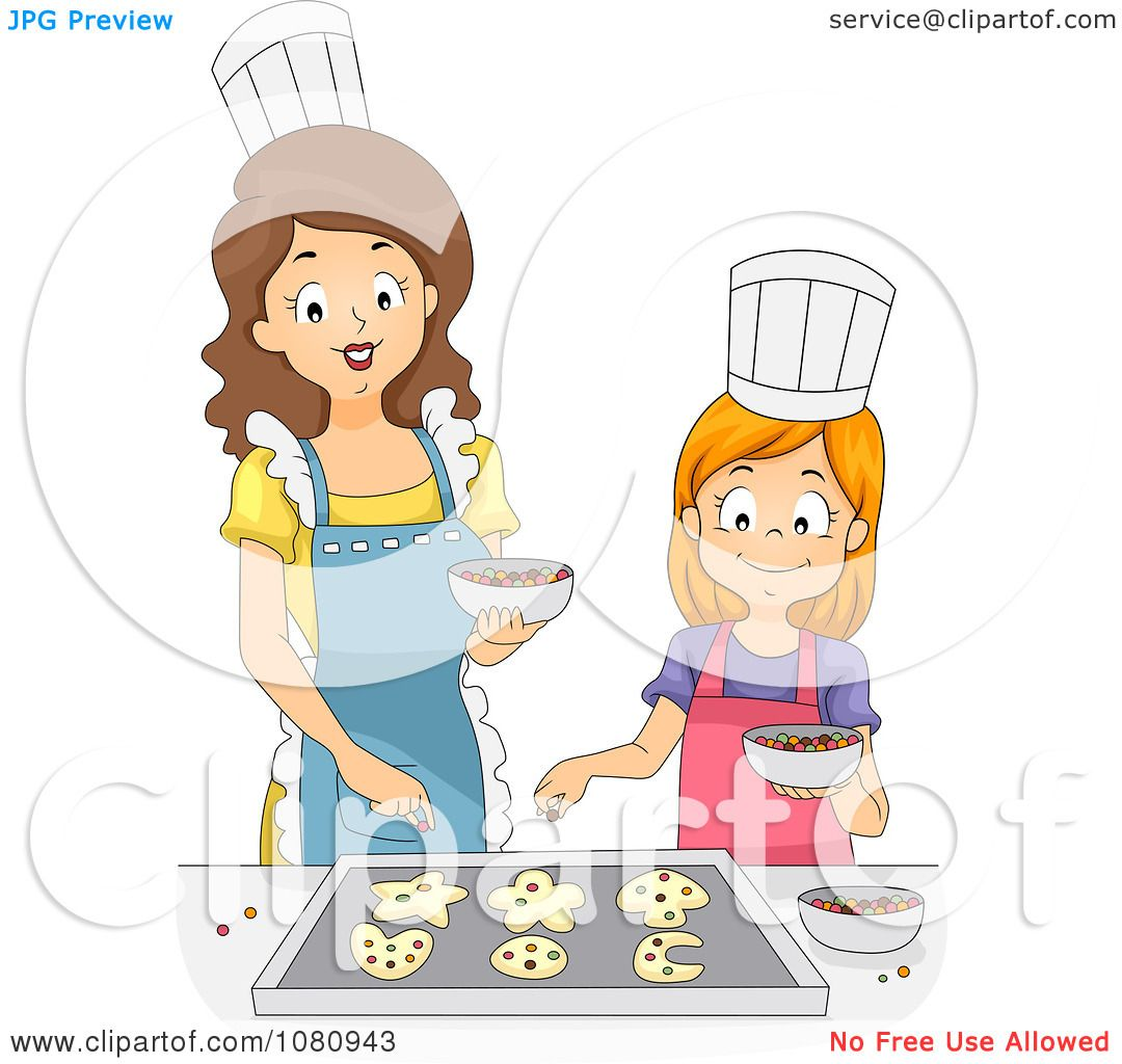Clipart Home Economics Teacher Baking Cookies With A Girl.