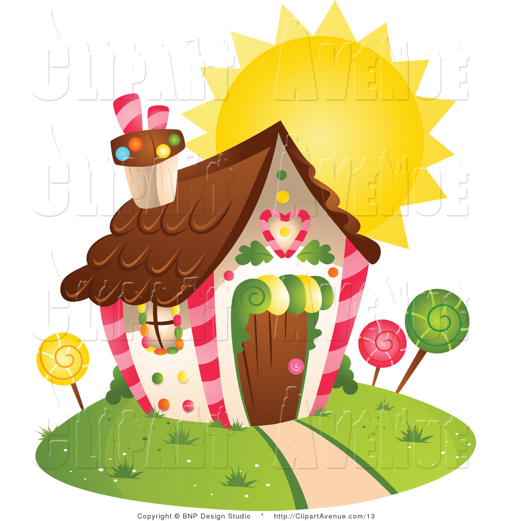 Avenue Clipart of a Sun Behind a Candy House by BNP Design Studio.