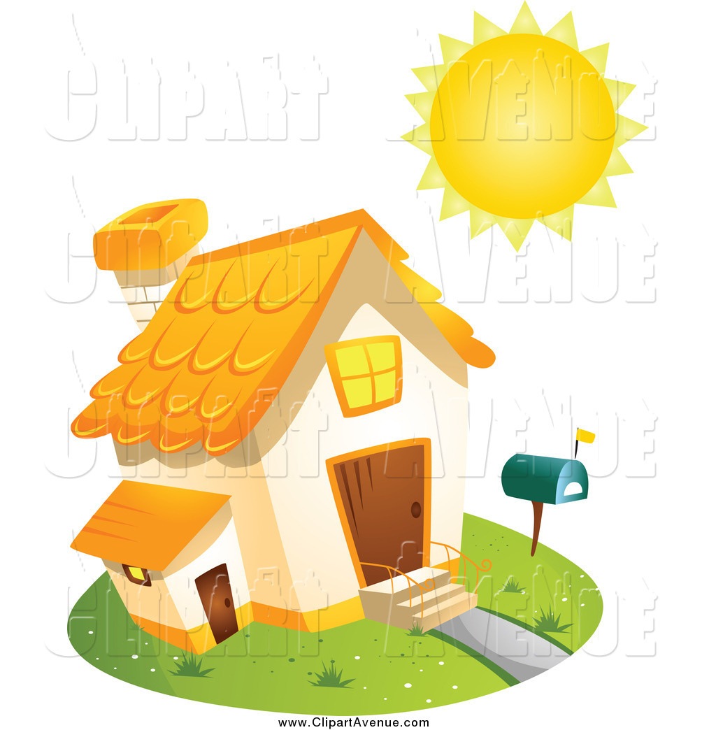 Avenue Clipart of a Sun Shining over a Home by BNP Design Studio.