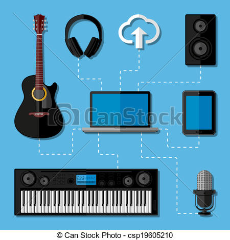 Vector Clip Art of Home music studio concept. Flat design.