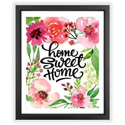 Amazon.com: Eleville 8X10 Home sweet home Floral Watercolor Art.