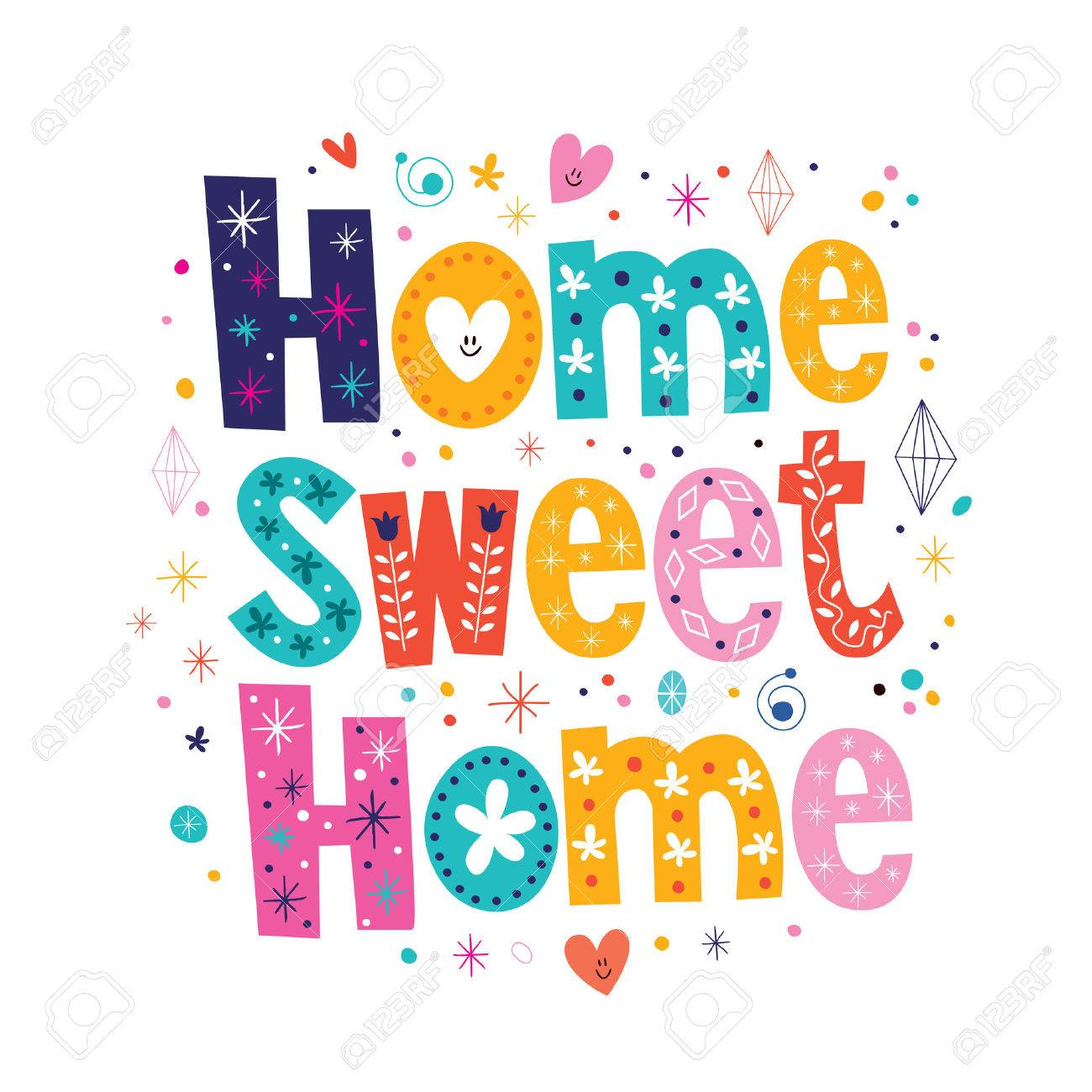 home sweet home typography lettering decorative text.