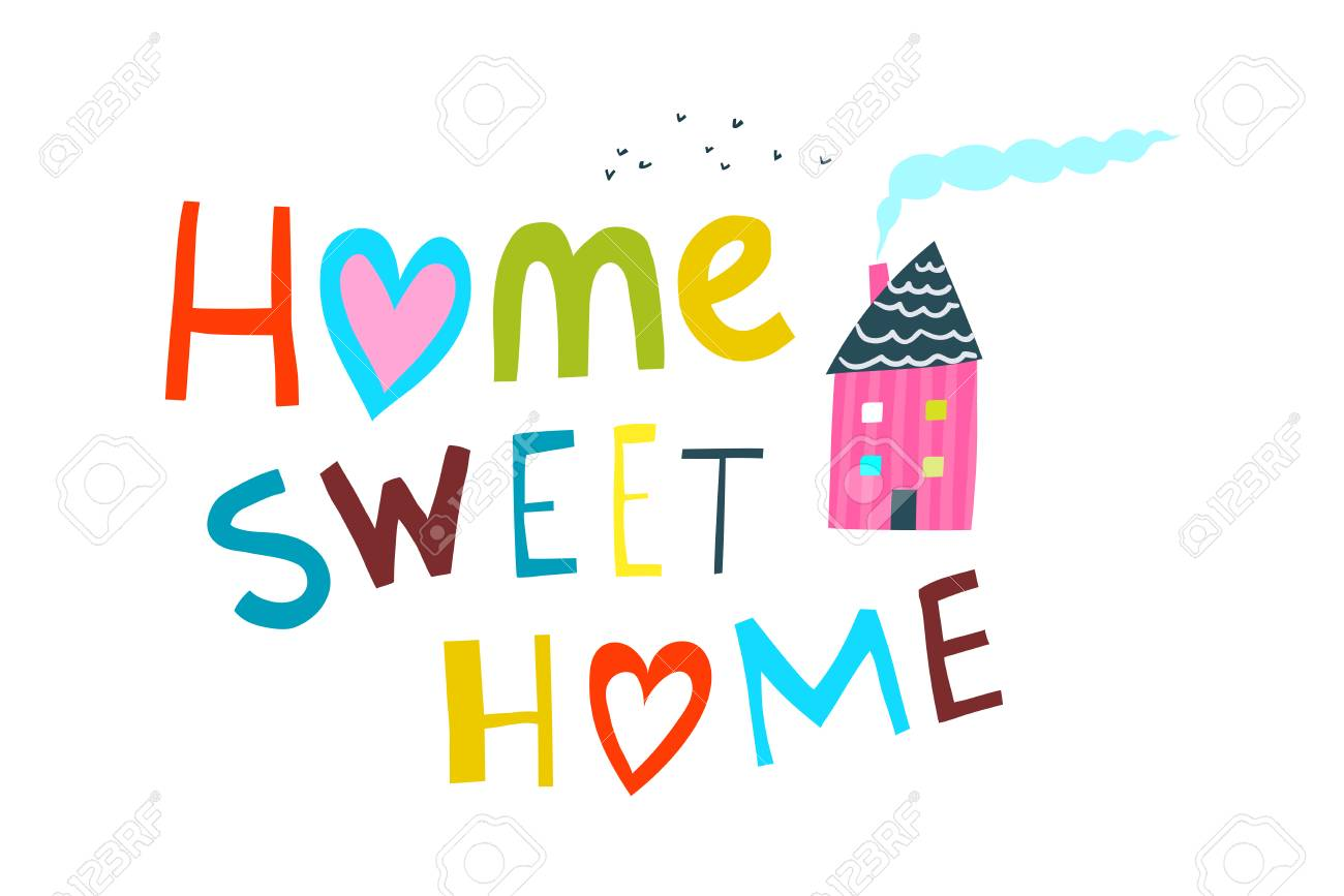 Illustrated Cartoon Kids Sign home sweet home..