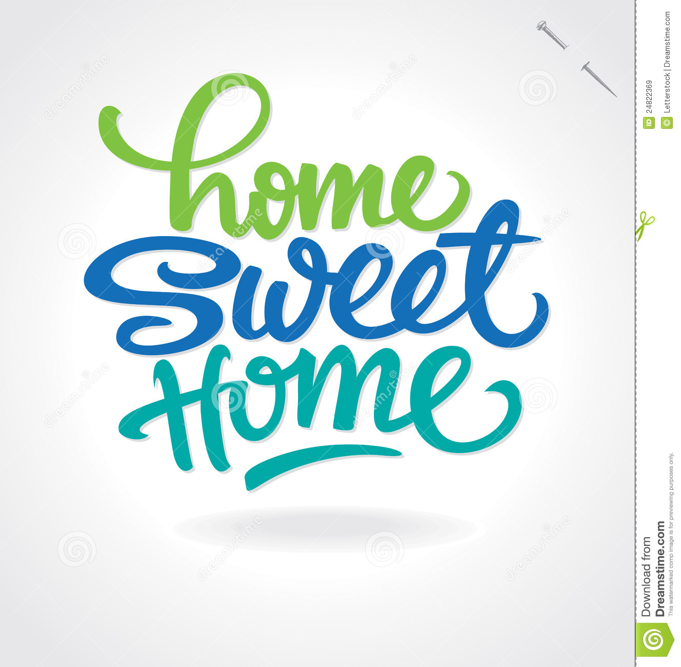 home Sweet Home' Hand Lettering (vector) Royalty Free Stock Images.