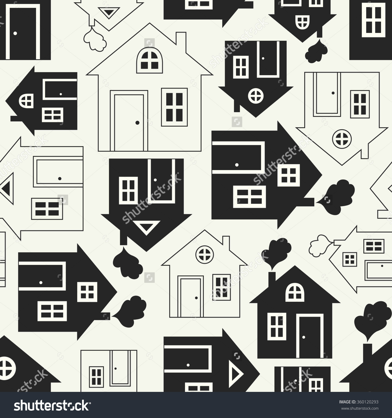 Home Sweet Home House Silhouette And Outline Seamless Pattern.