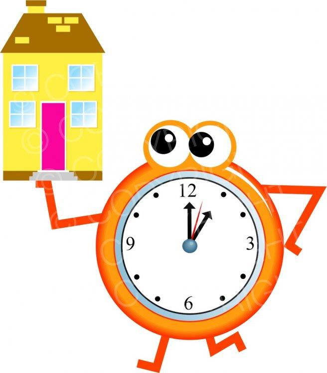 Home Time, Mr Clock Clip Art Illustration.