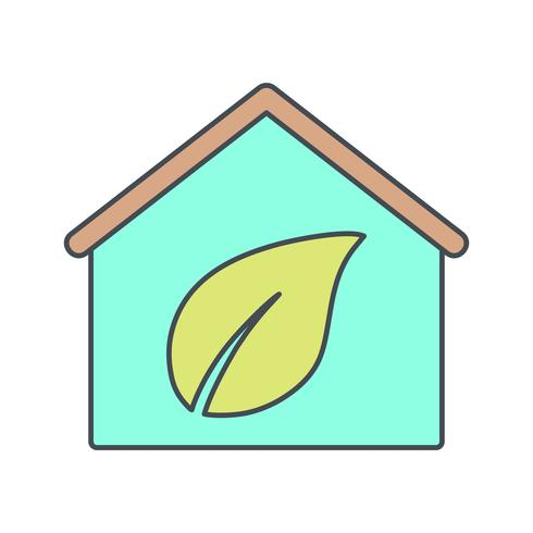Eco Home Vector Icon.