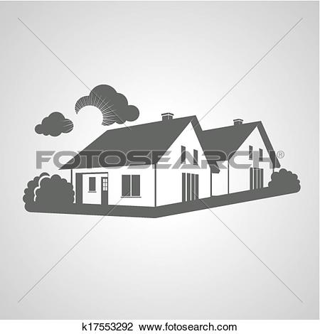 Clipart of Vector symbol of home, group of houses icon, realty.