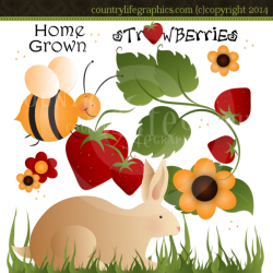 Primitive & Country Spring Graphics, Spring Clipart, Bunnies.