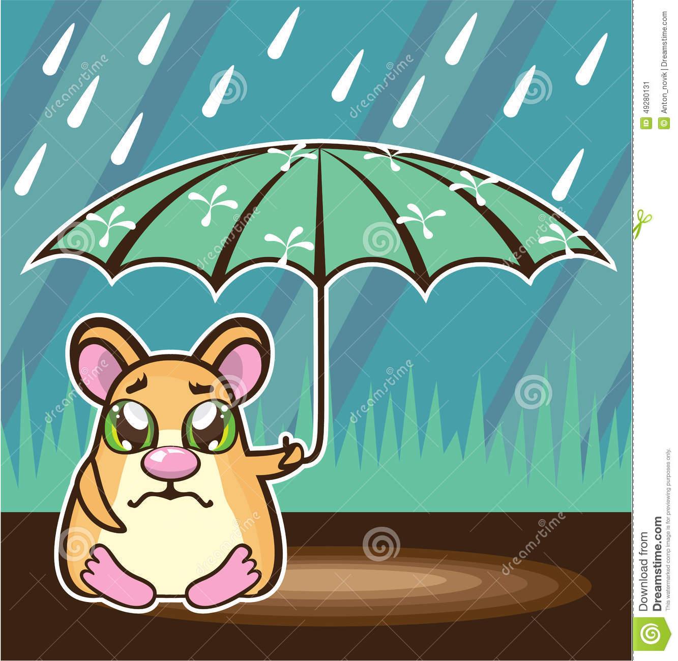 Homeless Hamster Cartoon Stock Vector.