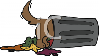 Cartoon Clip Art Picture of a Dog Digging in a Trash Can.