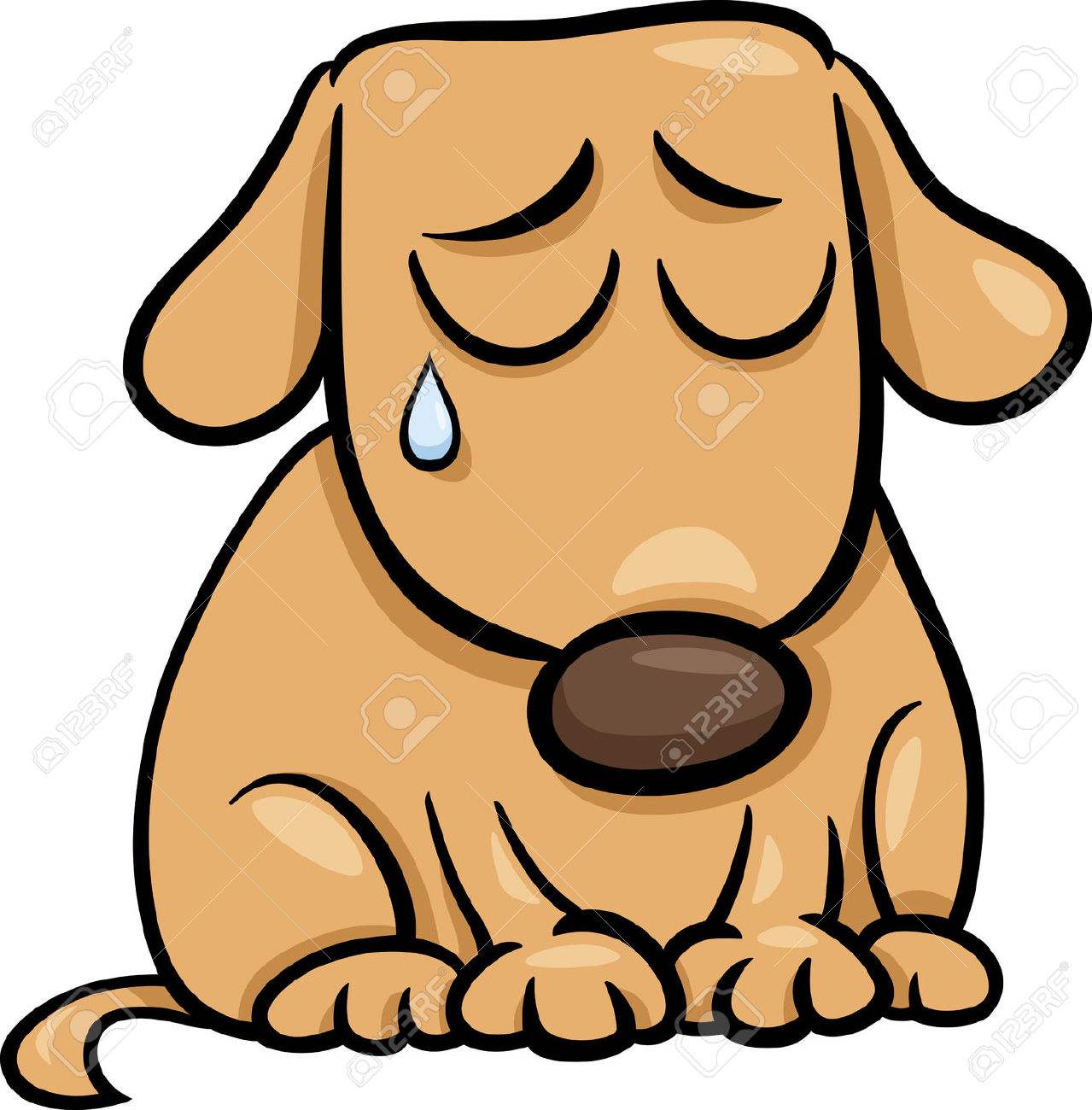 Cartoon Illustration Of Cute Sad Dog Or Puppy Royalty Free.