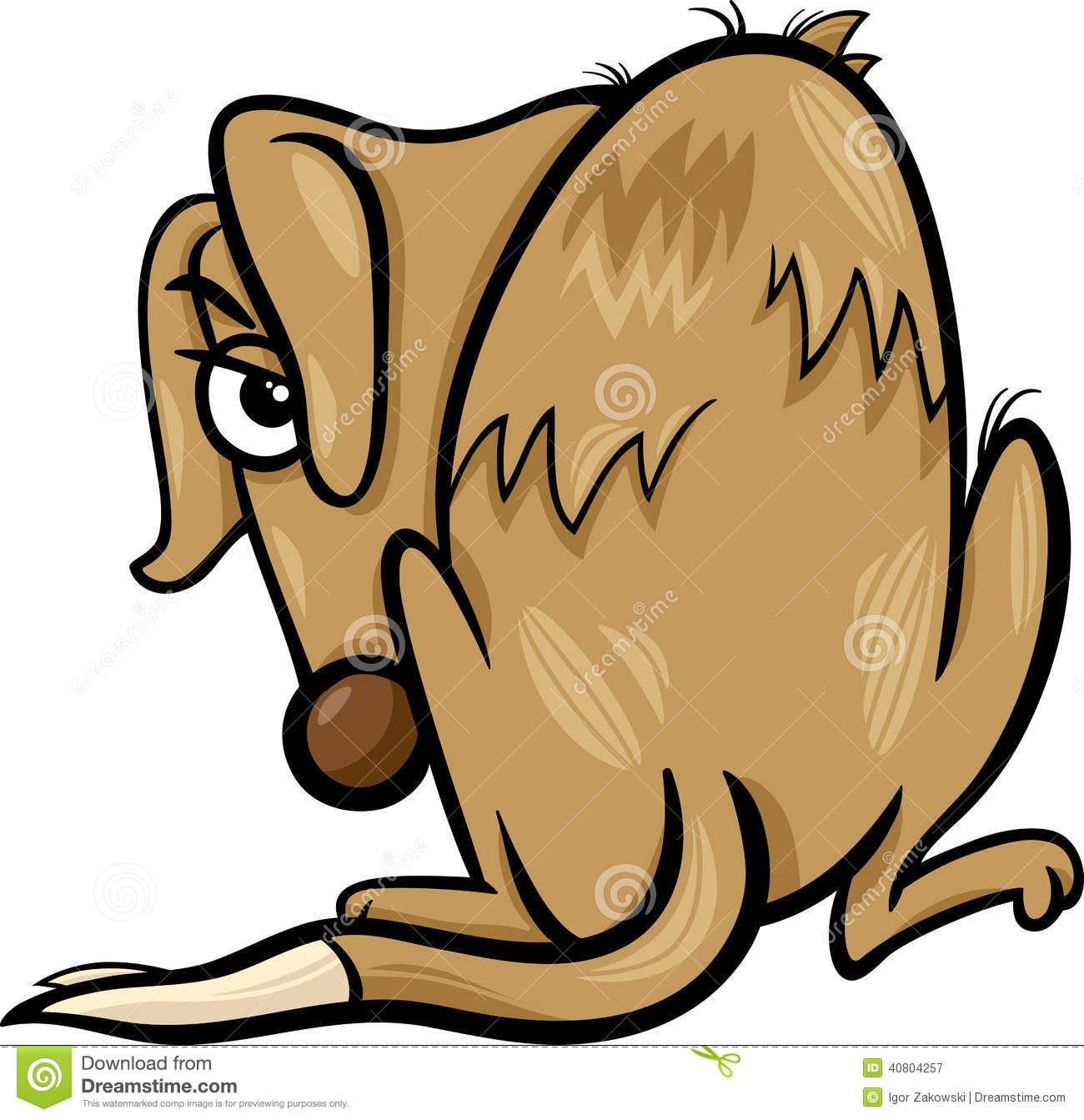 Poor Homeless Dog Cartoon Illustration Stock Vector.