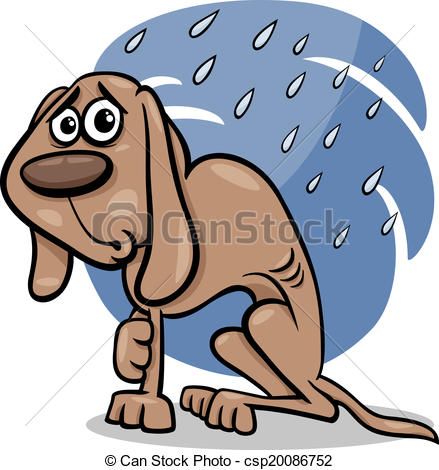 Clipart Vector of homeless dog cartoon illustration.