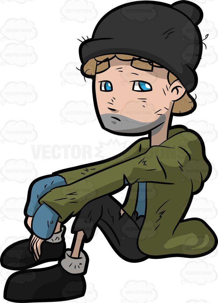 A homeless man seated on the floor.