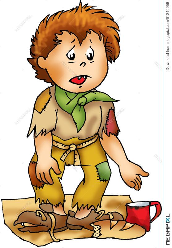 Poor Homeless Boy Character Illustration 61249959.