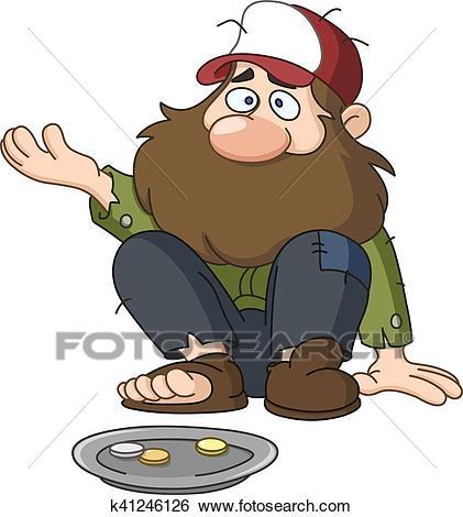 Homeless beggar Clip Art.