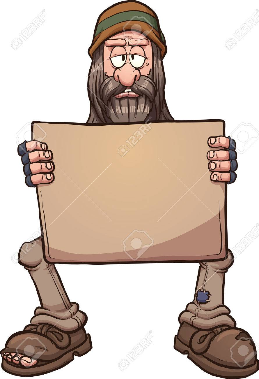 Homeless man golding a sign. Vector clip art cartoon illustration...