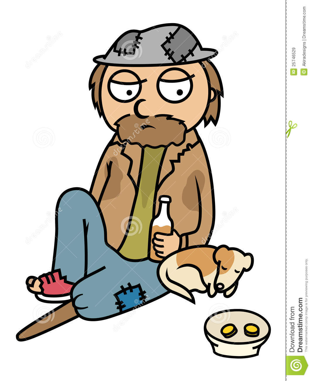Homeless man clipart.